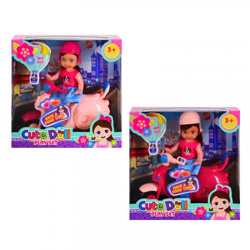 Мини кукла с мотопед