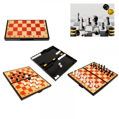 Забавна игра 3 в 1 /шах, табла и дама/