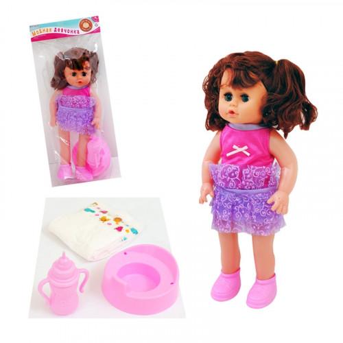 Пишкаща кукла с памперс, шише и гърне