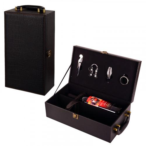 Кутия за две бутилки вино с аксесоари
